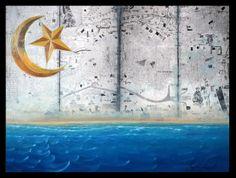 """MAR DE ARABIA collage y óleo sobre tabla 30x40. Obra de la serie """"7 mares"""" del proyecto SEPTIES SEPTEM. http://septiesseptem.blogspot.com.es/"""