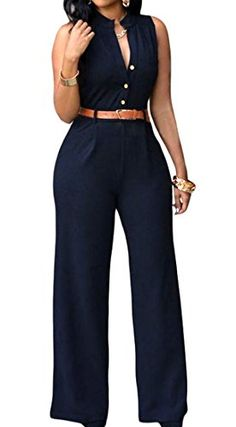 17c2d0f64480 Dearlovers Women Vintage Playsuit Wide Leg Loose Pants Jumpsuit Romper with  Belt