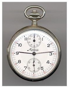 "Scarce Swedish Army ""Minerva"" Chronograph Pocket Watch. 1930's"