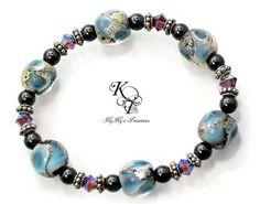Blue Bracelet, Purple Bracelet, Glass Bead Bracelet, Swarovski Crystals, Elastic Bracelet, Stretch Bracelet, Mothers Day Gift, Gift for Mom