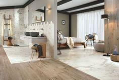 Mix de marbre et de bois, Carrelage Bistrot imitation marbre, Ragno. Carrelage Indiana d'Arte Design, imitation du bois