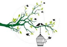 Free birds with open birdcage on tree branch, green leaves, clip art ...