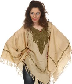 Amazon.com: Exotic India Beige Poncho with Ari Embroidery by Hand on Neck and Border - Beige: Clothing
