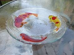 GLASS KOI BIRD BATH GARDEN PATIO OUTDOOR NATURE 13 IN DIAMETER FISH ORIENTAL
