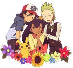 Ash/Satoshi (Pokémon), Pikachu, Iris (Pokémon), Cilan/Dento (Pokémon) (by Ochappa/Cha Cha)