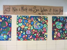 The 3rd graders started out the year by working together to create giant masterpieces. In Media, they watched the video created about the book, The Dot by Peter Reynolds . First, students used black...