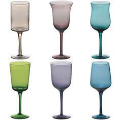Bitossi Set Of 6 Glass Desigual Goblets, Colour