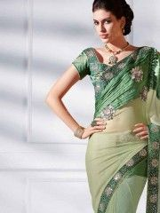 1 Minute Sarees :- Steal hearts away and get complimented with fresh looking enchanting party wear. The exclusive drapery been worked with silver zari and stones on the kali and exclusive butta weaved on pallu. The exclusive lace on edge make it sure to shine across the party. $98.85 matwali.com