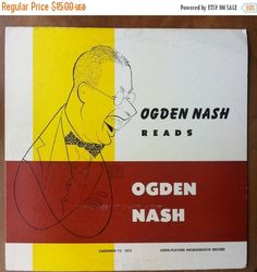 SUMMER SALE Ogden Nash Reads Ogden Nash Vinyl Record LP Spoken Word 1953 Caedmon Al Hirschfeld Cover Art by vintagebaron on Etsy