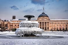 Frozen fountain in Wiesbaden, Germany Places To See, Places To Travel, Places Ive Been, Travel Around The World, Around The Worlds, Fantasy Castle, Central Europe, Adventure Is Out There, Fountain