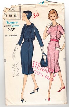 Vintage 1958 Vogue 9635 Sewing Pattern от SewUniqueClassique