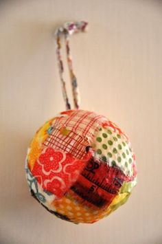creative use of old fabric to make a really pretty ornament