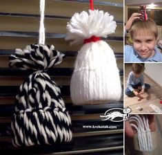 DIY - Winter hats for dolls from yarn and paper tube Hat Crafts, Crafts To Do, Decor Crafts, Winter Theme, Winter Hats, Christmas Crafts For Kids, Christmas Ornaments, Activities For Girls, Crafty Craft