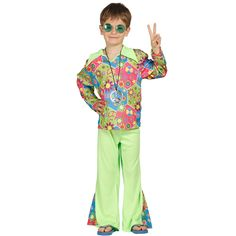 Disfraz de hippie para niño, se compone de pantalón y camiseta ideal para tus fiestas de Carnaval.