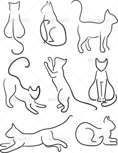 how to draw simple cat silhouette | Silhouette of Cats. Cat Design Set Line Art.Vector illustration, fully ...