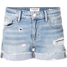 FRAME Denim Distressed Short ($180) ❤ liked on Polyvore featuring shorts, bottoms, pants, short, kirna zabete, relaxed fit shorts, distressed denim shorts, torn shorts, ripped short shorts and zipper shorts
