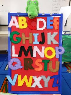Alpha-gator who eats the alphabet; but those letters keep wreaking havoc in his tummy. Link to poem and prop here-looks like a lot of fun :-)Storytime w/ Miss Tara