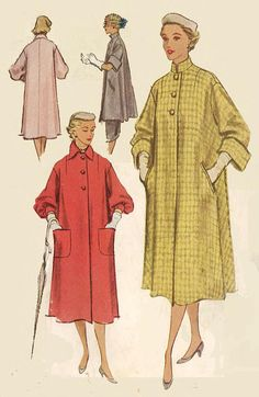 """Vintage 1950's Sewing Pattern Reversible Coat & Lounging Coat Bust 32"""" RARE"""