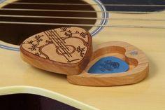 Guitar Pick Box, Solid Cherrywood, Pattern G38, Laser Engraved, Paul Szewc http://etsy.me/20mgDVE