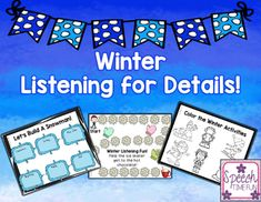 Practice listening comprehension skills with this winter themed activity!In this file:-Listening for categories game: use the board game with the task cards.  Students should listen to sentence(s) and respond to question eliciting recall.-Color the winter activities:  give each student a copy of the coloring page.