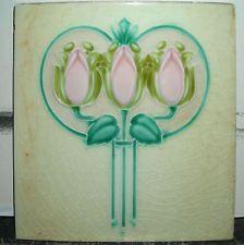 "England Art Nouveau Majolica Tile, 6""x6"", 3 Tulips or Roses w/n Apple - A.M. 396"