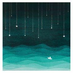 Aquarell Kunst Giclee print Segelboot Kinder Wand Dekor von VApinx