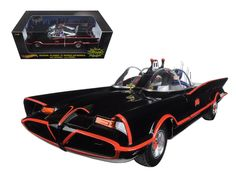 Hot wheels 1966 TV Series Batmobile With Batman & Robin Figures 1/18 Diecast Model Car by Hotwheels - Brand new 1:18 scale diecast car model of 1966 TV Series Batmobile With Batman & Robin Figures die cast car by Hotwheels. Brand new box. Rubber tires. Has steerable wheels. Detailed interior, exterior. Made of diecast with some plastic parts. Dimensions approximately L-10.5, W-4, H-3.75 inches.-Weight: 4. Height: 8. Width: 15. Box Weight: 4. Box Width: 15. Box Height: 8. Box Depth: 7