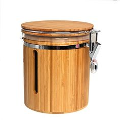 Wansu Bamboo Food Storage Jar Canister with Lids; Large