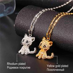 Rhinestone Cute Cat Necklace Trendy Gold Color Link Chain For Women Collares Lucky Pet Pendant Bijoux Gold Chain With Pendant, Chain Pendants, Crystal Pendant, Cat Necklace, Necklace Types, Pendant Necklace, Necklace Chain, Pink Quartz, Beautiful Necklaces