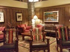 One of several cozy lounges inside the building at the DVC Villas at Wilderness Lodge. http://www.allears.net | #DVC #WDW #WaltDisneyWorld #LuxuryResorts #DisneyVacationClub #Holidays