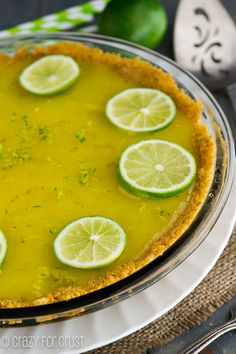 Lime Curd Pie - a graham cracker crust filled with homemade lime curd. Perfect for any citrus lover!