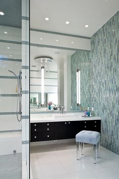 Love the glass mosaic tile and raised vanities. Contemporary House by KuDa Photography Modern Bathroom Design, Bath Design, Bathroom Interior Design, Modern Interior Design, Tile Design, Contemporary Bedroom, Contemporary Design, Modern Bedroom, Diy Interior