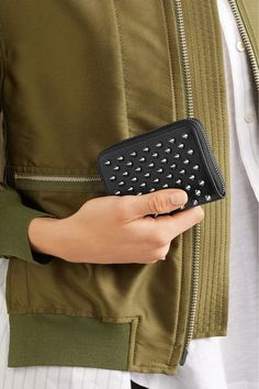 Christian Louboutin - Panettone Spiked Leather Wallet - Black - one size