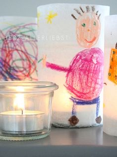 Very cute Idea. I would use  bigger candles or have art paper fit to proper height =)