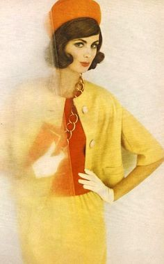 Yellow with red blouse From Mademoiselle, February 1961