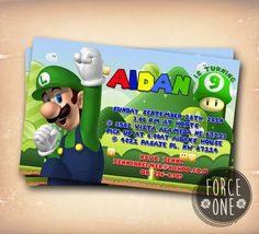 Super Luigi Invitation-Colorfull invitation-Birthday by ForcesOne