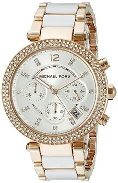 ad62aa946ea1 Michael Kors Watches   Michael Kors Womens MK5774 Parker Rose GoldTone  White Watch To view further