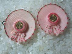 vintage barrette,little pink hat, matching set, rare vintage choldren barrettes