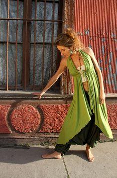 TOTEM DRESS PISTACHE, layering Tunic, Sexy Open Back, Versatile, Romantic Cocktail Dress