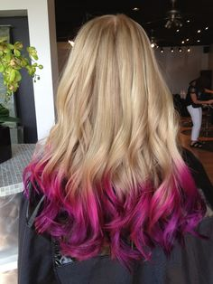 Ombre Pink and Purple By Cassy! Ombre Pink and Purple By Cassy! Pink Hair Tips, Pink Blonde Hair, Pink Ombre Hair, Hot Pink Hair, Neon Hair, Hair Color Pink, Hair Dye Colors, Violet Hair, White Hair