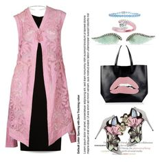 """""""Pink Lace Vest..."""" by unamiradaatuarmario ❤ liked on Polyvore featuring RED Valentino, BOSS Hugo Boss, Pierre Hardy, Allurez, Noor Fares and Belk & Co."""
