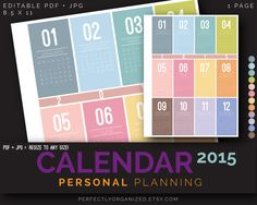 2015 Calendar Year Calendar Personal by PerfectlyOrganized on Etsy