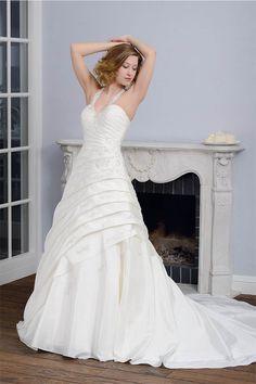 2014 Neckholder V Ausschnitt Taft Brautkleid Weiß Hochzeitskleid Mit Spitze $291.99 Brautkleider A-Linie