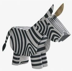 3D Free Printable Zebra. Paper Toys.