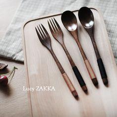Japanese wooden spoon fork set vintage honey spoon japanese tableware long…