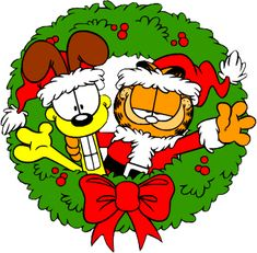 A MERRY CHRISTMAS WREATH FROM GARFIELD AND ODIE!