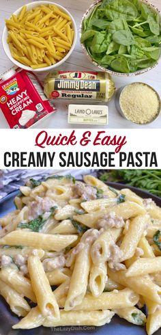 Dinner Recipes Easy Quick, Easy Meal Prep, Easy Weeknight Meals, Quick Easy Meals, Easy Dinners, Sausage Recipes, Pasta Recipes, Fun Recipes