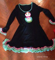 Upcycled dress, Black Dress, Tunic Dress, Matrioska applique, crochet technique, boho chic by ButiculColorat on Etsy