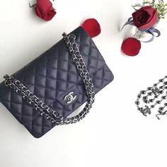 947e9a4365282b Authentic Quality 1:1 Mirror Replica Chanel Classic Flap Bag Navy Blue  Caviar Leather Silver Hardware