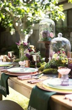 #purple #green #tablescape beautiful oudoor tablescape with cloches, silver goblets and julep cups, and personalized napkins for seating